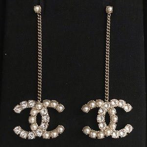 Chanel 20B Gold Pearly White and Crystal Earrings